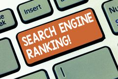 Writing note showing Search Engine Ranking. Business photo showcasing Rank at which site appears in the search engine. Query Keyboard key Intention to create stock images