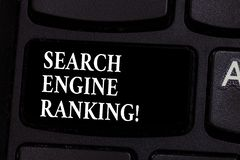 Writing note showing Search Engine Ranking. Business photo showcasing Rank at which site appears in the search engine. Query Keyboard key Intention to create royalty free stock photo