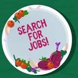 Writing note showing Search For Jobs. Business photo showcasing Unemployed looking for new opportunities Headhunting. Hand Drawn Lamb Chops Herb Spice Cherry vector illustration