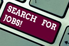 Writing note showing Search For Jobs. Business photo showcasing Unemployed looking for new opportunities Headhunting. Keyboard key Intention to create computer stock images