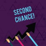 Writing note showing Second Chance. Business photo showcasing opportunity to try something again after failing one time. Writing note showing Second Chance stock illustration