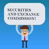 Writing note showing Securities And Exchange Commission. Business photo showcasing Safety exchanging commissions. Financial Man Standing Holding Above his Head vector illustration