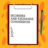 Writing note showing Securities And Exchange Commission. Business photo showcasing Safety exchanging commissions. Financial Sheet of Bond Paper on Clipboard royalty free illustration