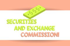 Writing note showing Securities And Exchange Commission. Business photo showcasing Safety exchanging commissions. Financial Unit of Currency Dollar Sign on royalty free illustration