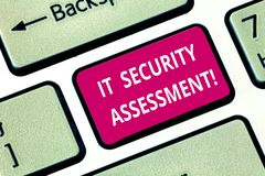 Writing note showing It Security Assessment. Business photo showcasing ensure that necessary security controls are in. Place Keyboard key Intention to create royalty free stock photography