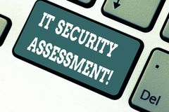 Writing note showing It Security Assessment. Business photo showcasing ensure that necessary security controls are in. Place Keyboard key Intention to create royalty free stock photo