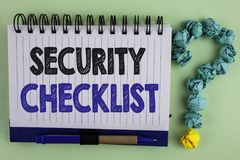 Writing note showing  Security Checklist. Business photo showcasing list with authorized names to enter allowing procedures writte Royalty Free Stock Photo