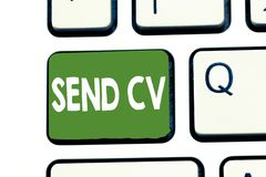 Writing note showing Send Cv. Business photo showcasing Give resume curriculum vitae for applying to job Recruitment.  royalty free stock photo