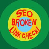 Writing note showing Seo Broken Link Check. Business photo showcasing Search engine optimization error in website links stock illustration