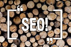 Writing note showing Seo. Business photo showcasing Search Engine Optimization Marketing Keywording Wooden background vintage wood. Wild message ideas royalty free stock images