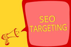 Writing note showing Seo Targeting. Business photo showcasing Specific Keywords for Location Landing Page Top Domain Megaphone lou
