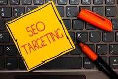 Writing note showing Seo Targeting. Business photo showcasing Specific Keywords for Location Landing Page Top Domain. Yellow paper keyboard Inspiration royalty free stock photos