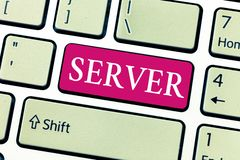 Writing note showing Server. Business photo showcasing computer program which manages access centralized resource. Network royalty free stock photo