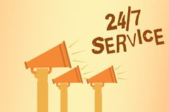 Writing note showing 24 7 Service. Business photo showcasing Always available to serve Runs constantly without disruption Hands ho. Lding megaphones loudspeakers stock image