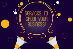 Writing note showing Services To Grow Your Business. Business photo showcasing Great high quality assistance for companies Two. Megaphone and Circular Outline royalty free illustration
