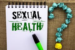 Writing note showing Sexual Health. Business photo showcasing STD prevention Use Protection Healthy Habits Sex Care written on No. Writing note showing Sexual royalty free stock images