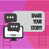 Writing note showing Share Your Story. Business photo showcasing Experience Nostalgia Memory Personal. Writing note showing Share Your Story. Business concept stock illustration