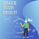 Writing note showing Share Your Story. Business photo showcasing Experience Nostalgia Memory Personal. Writing note showing Share Your Story. Business concept vector illustration
