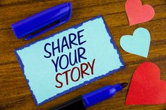 Writing note showing  Share Your Story. Business photo showcasing Tell personal experiences talk about yourself Storytelling writt. En Sticky note paper the Royalty Free Stock Image