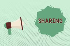 Writing note showing Sharing. Business photo showcasing have portion of something with another or others give portion vector illustration