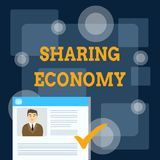 Writing note showing Sharing Economy. Business photo showcasing economic model based on providing access to goods. Writing note showing Sharing Economy. Business stock illustration