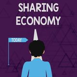 Writing note showing Sharing Economy. Business photo showcasing economic model based on providing access to goods Man. Writing note showing Sharing Economy stock illustration