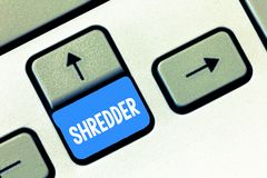 Writing note showing Shredder. Business photo showcasing machine or other device for shredding something like paper stock photo
