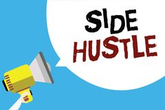 Writing note showing Side Hustle. Business photo showcasing way make some extra cash that allows you flexibility to pursue Man hol. Ding megaphone loudspeaker stock illustration