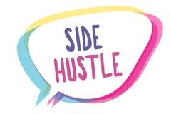 Writing note showing Side Hustle. Business photo showcasing way make some extra cash that allows you flexibility to pursue Speech. Bubble idea message reminder royalty free illustration