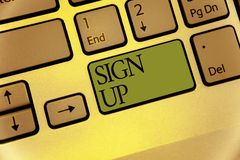 Writing note showing Sign Up. Business photo showcasing use your information to register in website team college or blog Keyboard. Green key Intention computer stock photography