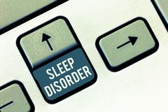 Writing note showing Sleep Disorder. Business photo showcasing problems with the quality, timing and amount of sleep.  royalty free stock photography