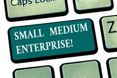 Writing note showing Small Medium Enterprise. Business photo showcasing independent firms which employ fewer employee. Keyboard key Intention to create computer royalty free stock images