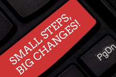Writing note showing Small Steps Big Changes. Business photo showcasing Make little things to accomplish great goals. Keyboard key Intention to create computer stock photo