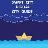Writing note showing Smart City Digital City Guide. Business photo showcasing Connected technological modern cities Wave Heavy. Clouds and Paper Boat Seascape vector illustration