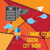 Writing note showing Smart City Digital City Guide. Business photo showcasing Connected technological modern cities. Information Passing through Cloud Hosting royalty free illustration