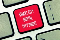 Writing note showing Smart City Digital City Guide. Business photo showcasing Connected technological modern cities. Keyboard Intention to create computer stock illustration