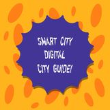 Writing note showing Smart City Digital City Guide. Business photo showcasing Connected technological modern cities. Blank Seal with Shadow for Label Emblem vector illustration