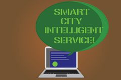 Writing note showing Smart City Intelligent Service. Business photo showcasing Connected technological modern cities. Certificate Layout on Laptop Screen and vector illustration