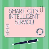 Writing note showing Smart City Intelligent Service. Business photo showcasing Connected technological modern cities. Square Color Board with Magnet Click stock illustration