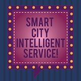 Writing note showing Smart City Intelligent Service. Business photo showcasing Connected technological modern cities. Square Speech Bubbles Inside other with stock illustration