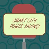 Writing note showing Smart City Power Saving. Business photo showcasing Connected technological cities electricity savings Blank. Rectangular Shape Sticker stock illustration