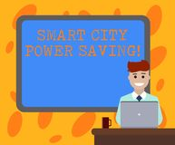 Writing note showing Smart City Power Saving. Business photo showcasing Connected technological cities electricity. Savings Bordered Board behind Man Sitting royalty free illustration