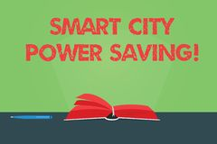 Writing note showing Smart City Power Saving. Business photo showcasing Connected technological cities electricity. Savings Color Pages of Book on Table with stock illustration