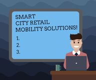 Writing note showing Smart City Retail Mobility Solutions. Business photo showcasing Connected technological modern cities. Bordered Board behind Man Sitting stock illustration