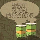 Writing note showing Smart Global Innovations. Business photo showcasing capability of firms to create new opportunities. Two To Go Cup with Beverage and Steam royalty free illustration
