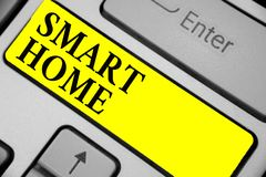 Writing note showing Smart Home. Business photo showcasing automation system control lighting climate entertainment systems Keyboa. Rd yellow key Intention stock images