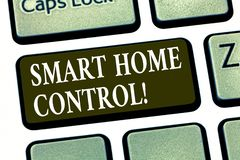 Writing note showing Smart Home Control. Business photo showcasing provides owners security comfort and energy. Efficiency Keyboard key Intention to create stock photo