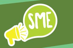 Writing note showing Sme. Business photo showcasing Company with no more than 500 employees Small medium enterprise.  vector illustration