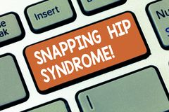 Writing note showing Snapping Hip Syndrome. Business photo showcasing audible snap or click that occurs in or around the. Hip Keyboard key Intention to create stock photos