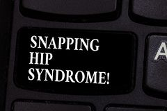 Writing note showing Snapping Hip Syndrome. Business photo showcasing audible snap or click that occurs in or around the. Hip Keyboard key Intention to create stock images